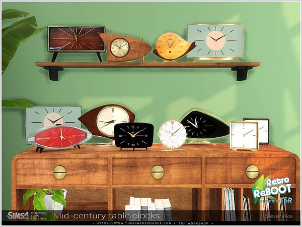 Mid century table clocks sims 4 cc