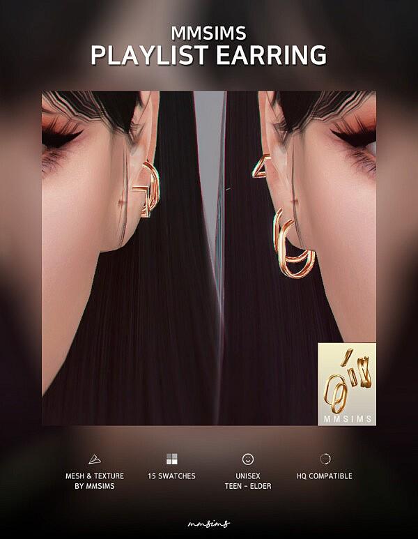 Playlist Earrings sims 4 cc