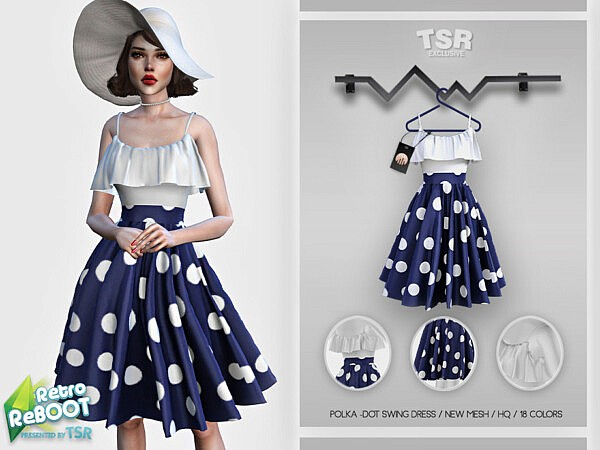 Polka Dot Swing Dress sims 4 cc