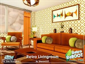 Retro Living Room sims 4 cc