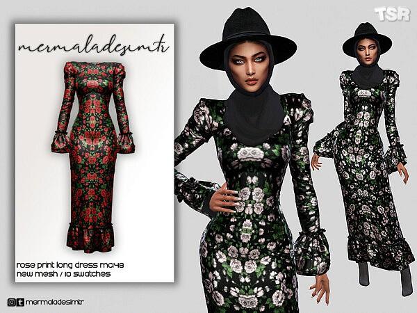 Rose Print Long Dress sims 4 cc