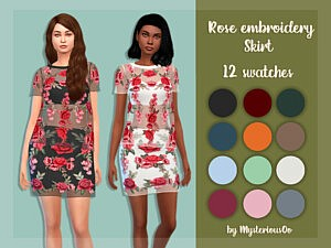 Rose embroidery skirt sims 4 cc