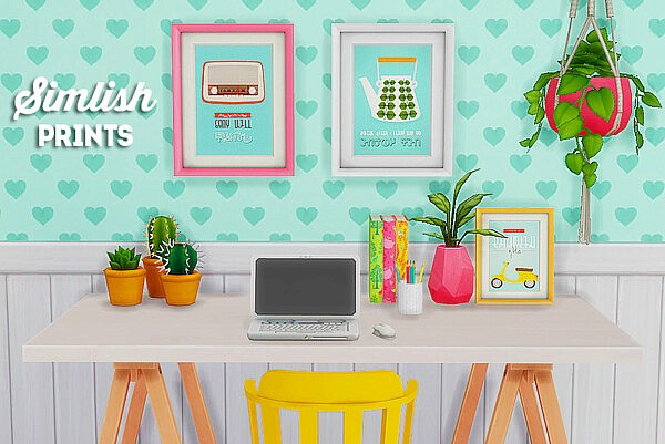 Simlish retro prints sims 4 cc