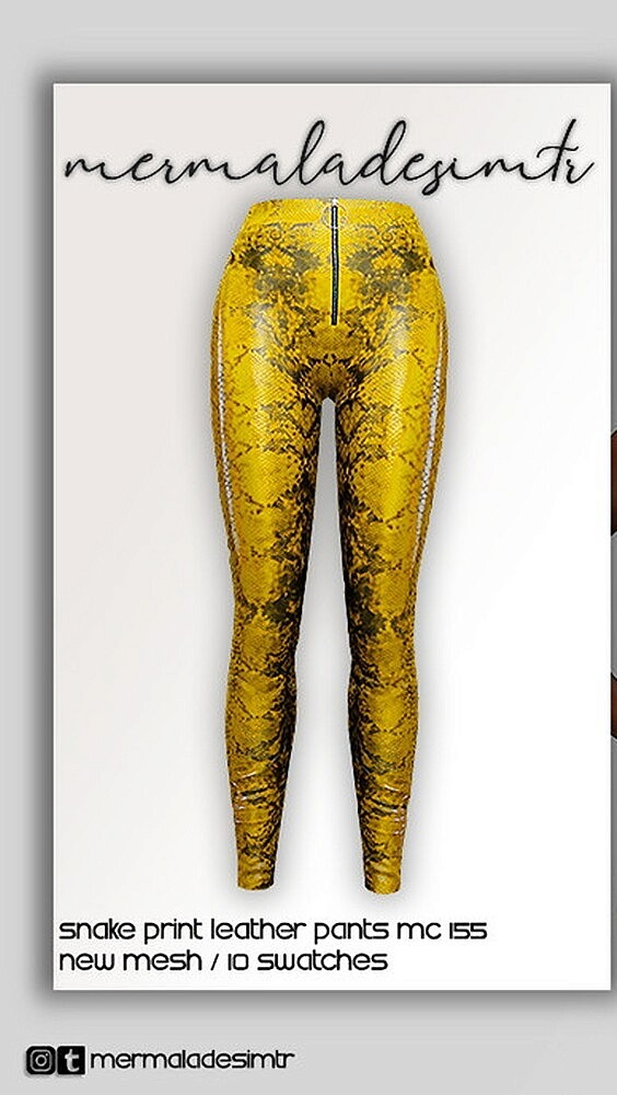 Snake Print Leather Pants by mermaladesimtr from TSR