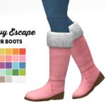 Snowy escape fur boots sims 4 cc