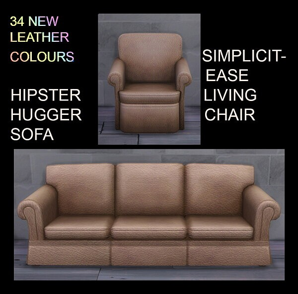 Sofa and Living Chair in Matching Leather sims 4 cc