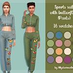 Sports suit with butterflies pants sims 4 cc