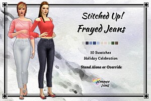 Stitched Up Frayed Jeans sims 4 cc