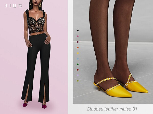 Studded leather mules 01 sims 4 cc