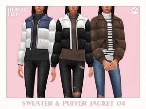 Sweater and Puffer Jacket 04 sims 4 cc