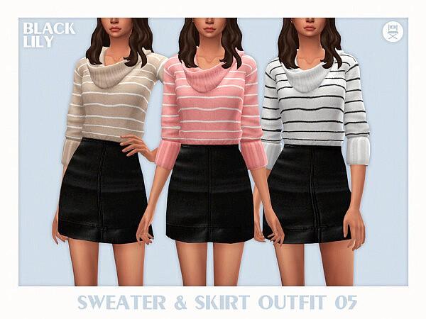 Sweater and Skirt Outfit 05 by Black Lily from TSR