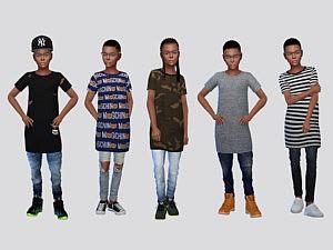 Thrift Long Tees Boys sims 4 cc
