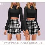 Two Piece Plaid Dress 04 sims 4 cc