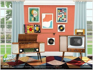 Vesta livingroom electronics decor sims 4 cc