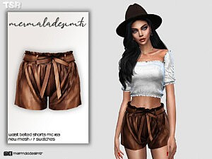Waist Belted Shorts sims 4 cc