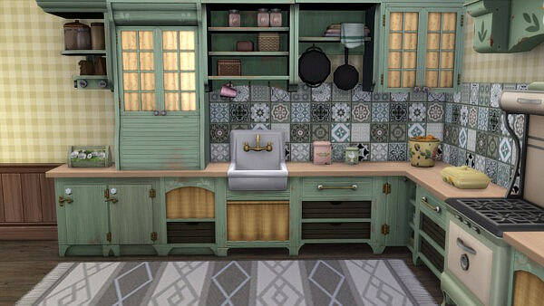 Wallpaper with wintage tiles sims 4 cc