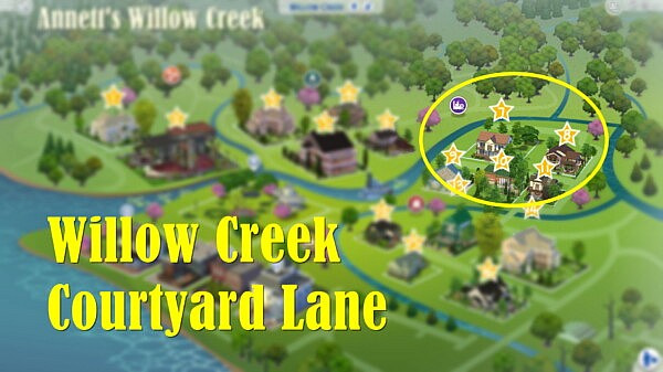 Willow Creek Courtyard Lane sims 4 cc