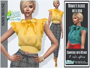 Womens blouse with bow sims 4 cc