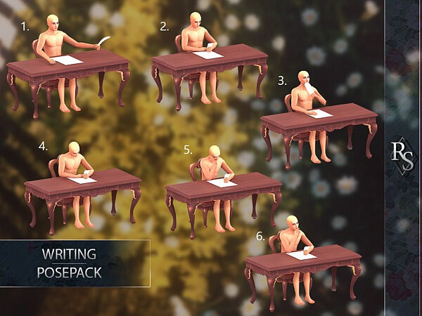 writing posepack sims 4 cc
