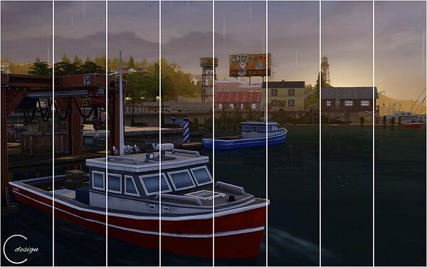Harbor Sunset Mural from Cross Design