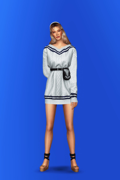 V Neck Sweater Dress with Waist Bag from Gorilla