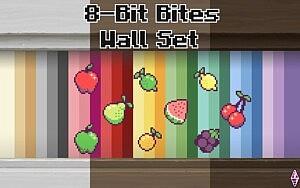 8BitBites Pixel Art Fruit Wallpaper Set sims 4 cc