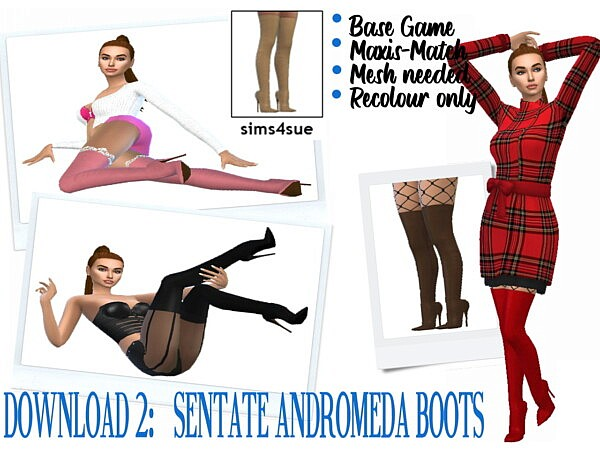 Devora Boots and Andromeda dress from Sims 4 Sue