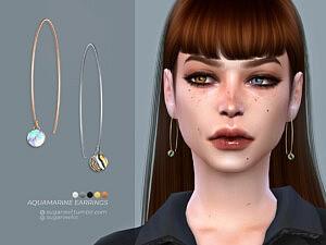 Aquamarine earrings sims 4 cc