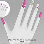 Baby and Mom Unicorn Nails sims 4 cc