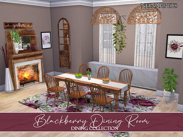 Blackberry Dining Room sims 4 cc