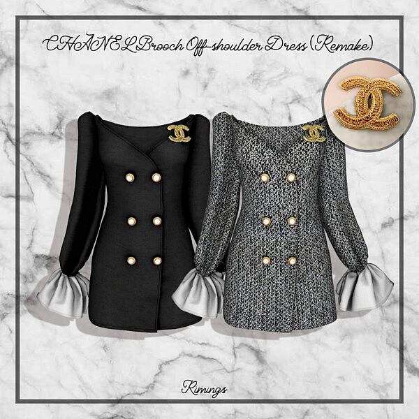 Brooch Off shoulder Dress sims 4 cc