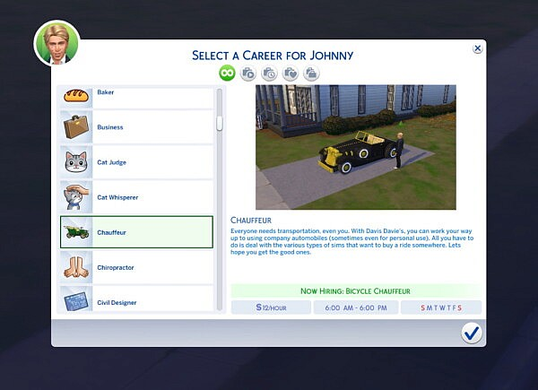 Chauffeur Vintage Career by Alpha Waifu from Mod The Sims