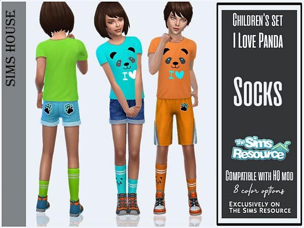 Childrens set I love panda Socks sims 4 cc