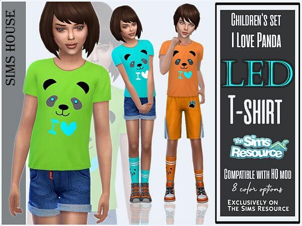 Childrens set I love panda T shirt sims 4 cc