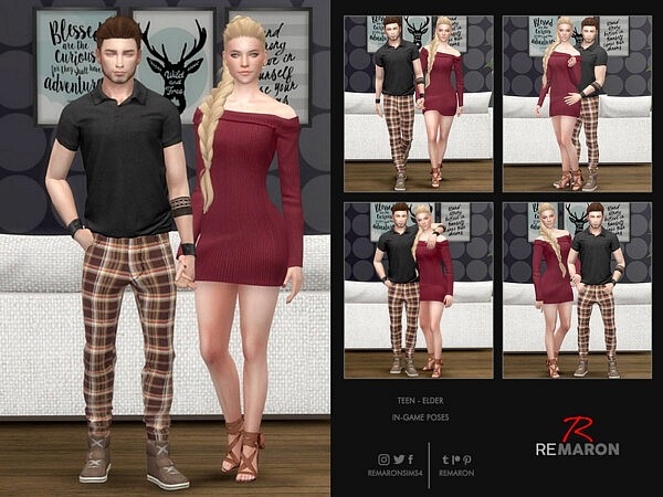 Couple In Game Pose Set 01 sims 4 cc
