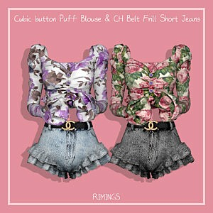 Cubic button Puff Blouse and Belt Frill Short Jeans sims 4 cc