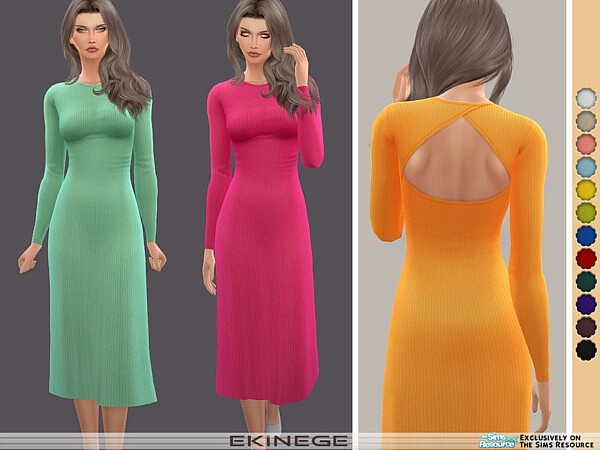Cut Out Long Sleeve Midi Dress sims 4 cc