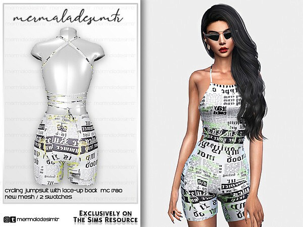 Cycling Jumpsuit with Lace up Back sims 4 cc