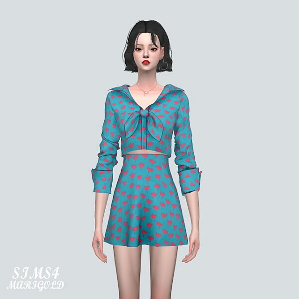 D 51 Ribbon Mini Dress sims 4 cc