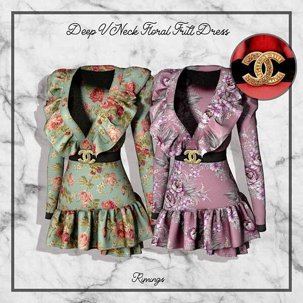 Deep V Neck Floral Frill Dress sims 4 cc1