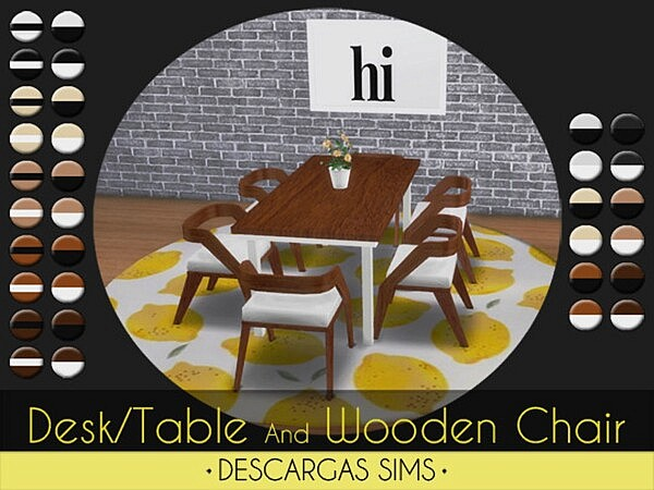 Desk Table And Wooden Chair sims 4 cc