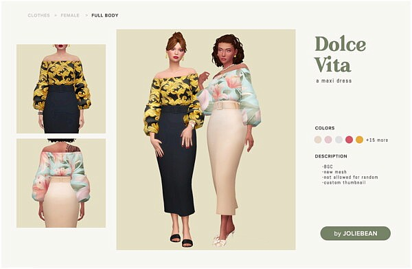 Dolce Vita Dress sims 4 cc