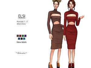 ELSI Midi Dress sims 4 cc