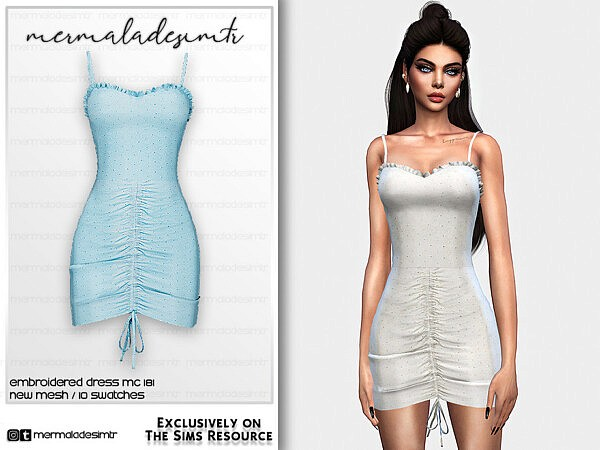 Embroidered Dress MC181 sims 4 cc