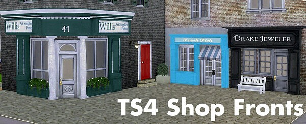 Fake door and shopfronts sims 4 cc