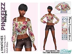 Flora Cropped Shirt sims 4 cc