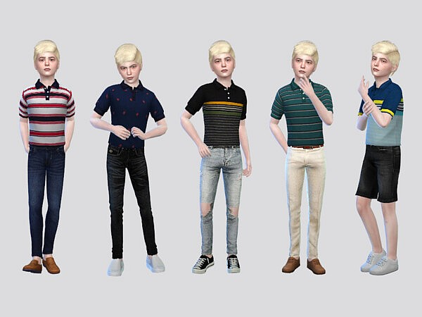 Grant Tucked Polo Shirts Boys sims 4 cc