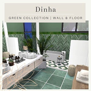 Green Collection Wall and Floor sims 4cc