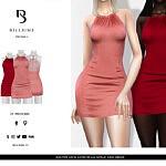 Halter Neck Satin Seam Detail Mini Dress sims 4 cc