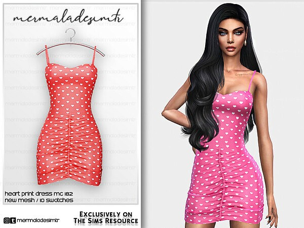 Heart Print Dress MC182 by mermaladesimtr from TSR